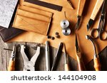 leather crafting tools still... | Shutterstock . vector #144104908