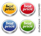 colorful best price buttons | Shutterstock .eps vector #144106483