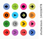 16 arrow sign icon set. black... | Shutterstock .eps vector #144106978