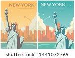 statue of liberty banner set.... | Shutterstock .eps vector #1441072769