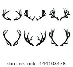 Silhouettes of deer antlers-vector - stock vector