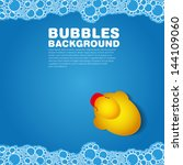 Soap bubble bath blue on background with duck, vector illustration
