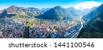 Bolzano and Dolomite mountains aerial panoramic view. Bolzano is the capital city of the South Tyrol province in northern Italy.