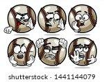 set of funny baseball ball... | Shutterstock .eps vector #1441144079