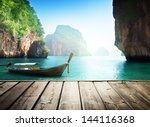 Adaman Sea And Wooden Boat In...