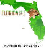 vector Florida - American state map with puma cougar or mountains lion