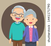 elderly couple holding hands... | Shutterstock .eps vector #1441171790