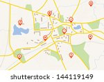 map with red pin pointers   Shutterstock .eps vector #144119149