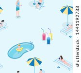 summer recreation flat vector... | Shutterstock .eps vector #1441192733