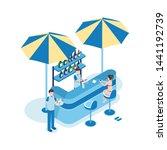 female tourist in beach bar... | Shutterstock .eps vector #1441192739