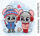 cute winter illustration with... | Shutterstock .eps vector #1441198070
