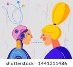 concept banner with woman using ... | Shutterstock .eps vector #1441211486