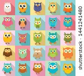 owl icons set. flat set of owl...   Shutterstock .eps vector #1441241480