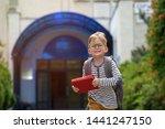 happy smiling kid in glasses is ...   Shutterstock . vector #1441247150