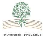 tree outline with soil line art.... | Shutterstock .eps vector #1441253576