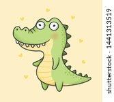 Stock vector alligator cartoon hand drawn style hand drawing vector cartoon character design 1441313519