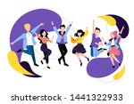 jumping and dancing happy... | Shutterstock .eps vector #1441322933