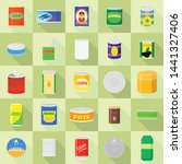 tin can icons set. flat set of... | Shutterstock .eps vector #1441327406