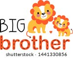 Stock vector two cute lion cubs are smiling each other big brother gives his love to the little one big 1441330856