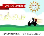 a man in motorbike delivers... | Shutterstock .eps vector #1441336010