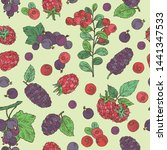 seamless pattern with berries ... | Shutterstock .eps vector #1441347533