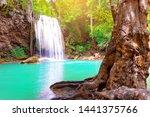 erawan waterfall with forest...   Shutterstock . vector #1441375766