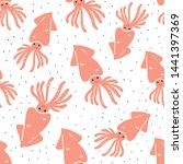 cute hand drawn squids seamless ... | Shutterstock .eps vector #1441397369