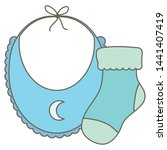 baby bib clothes with sock | Shutterstock .eps vector #1441407419