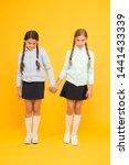 Stock photo schoolgirls best friends excellent pupils schoolgirls tidy appearance school uniform school 1441433339