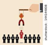 vector cartoon of red man among ...   Shutterstock .eps vector #144144808