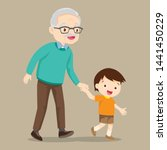 grandson walking with his... | Shutterstock .eps vector #1441450229