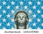 stylized statue of liberty head ... | Shutterstock .eps vector #144145984