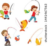 set of little boys fishing | Shutterstock .eps vector #1441467563