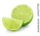 lime slices isolated on white... | Shutterstock . vector #144147790