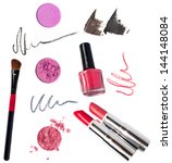 makeup kit pink eyeshadow  red  ... | Shutterstock . vector #144148084