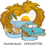 time to travel summer holidays... | Shutterstock .eps vector #1441645700