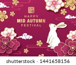 mid autumn festival poster with ... | Shutterstock .eps vector #1441658156