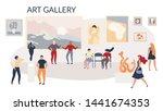 art gallery exhibition... | Shutterstock .eps vector #1441674353