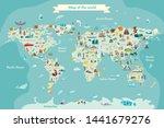world travel map with landmarks ... | Shutterstock .eps vector #1441679276