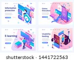 set isometric landing pages ... | Shutterstock .eps vector #1441722563