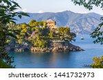 Beautiful natural view of the Bay of Paraggi in Santa Margherita Ligure, Mediterranean seacoat near luxury sea resort Portofino, Italy