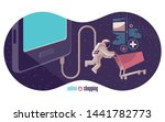astronaut connected to a... | Shutterstock .eps vector #1441782773
