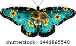 Blue Butterfly Decorated With...