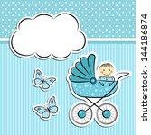 baby boy arrival announcement | Shutterstock .eps vector #144186874