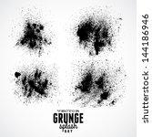ink black grunge splat set   Shutterstock .eps vector #144186946