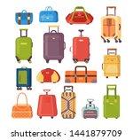 plastic  metal suitcases ... | Shutterstock .eps vector #1441879709