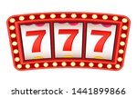 Stock vector sign of luck and success vector isolated signboard glowing frame lucky sevens triple number 1441899866
