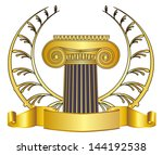 old style greece column and... | Shutterstock .eps vector #144192538