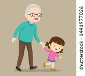 granddaughter walking with his...   Shutterstock .eps vector #1441977026