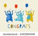 baby print with sloth  congrats.... | Shutterstock .eps vector #1442004440